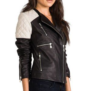 DOMA Quilted Insert Asymmetrical leather jacket